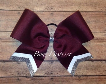 "3"" Maroon Team Cheer Softball Volleyball Bow with White and Silver Glitter Tail Stripes"