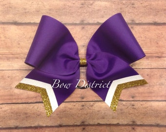 """3"""" Purple Team Cheer Softball Volleyball Bow with White Glitter and Gold Glitter Tail Stripes"""