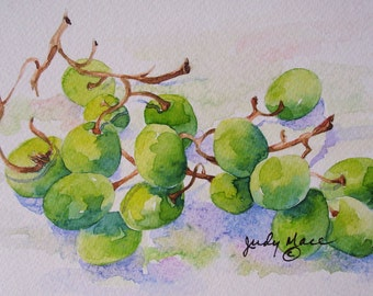 Grapes green fruit original handpainted watercolor greeting card