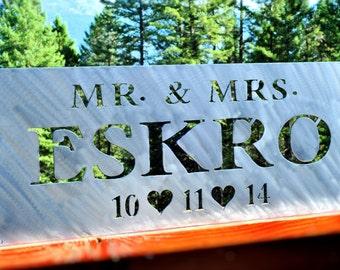 Unique Wedding Gift, Last Name Sign, Anniversary Gift, Bridal Shower Gift, Wedding Sign, Established Sign