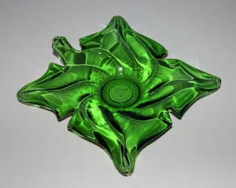 Green Glass Leaf Ashtray - Handmade - One-of-a-Kind - Unique