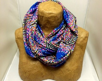 Colorful Knit Scarf - Colorful Confetti Maze - Chunky Infinity Scarf, Jersey Circle Scarf, Loop Scarf, Eternity Scarf, Geometric Scarf