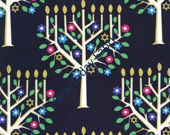 Tree of Light Menorah Metallic -  Michael Miller CM6608-NAVY-D (sold by the 1/2 yard)