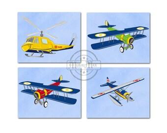 Vintage Airplane Art Kids Wall Art - Blue Green Airplane Nursery Art -  Art for Boy Room Kids Wall Art, Aviation Home Decor Wall Art