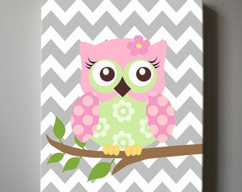 Pink and Gray Baby Girls Room Decor Nursery Owl Art, Nursery Whimsical Owl Canvas Art- OWL Canvas Art Baby Gift