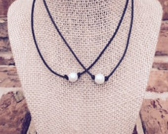 2 For 25.00!  Genuine Freshwater Single Pearl Leather Necklaces