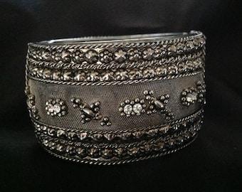 Vintage Silver Mesh & Rhinestone Hinged/Clamper Bracelet