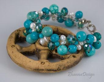 Wire Crochet Bracelet,Tourquosie Bracelet,Tourquosie Jewelry,Crystals,Pearls Bracelet,Stone Bracelet,Blue Bracelet handmade by ZhannaDesign