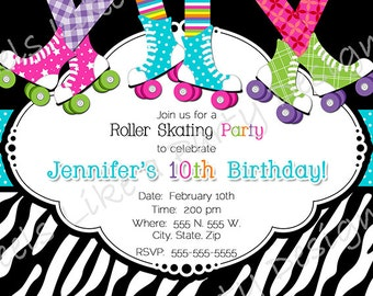 Custom Roller Skating Party Invite