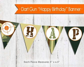 Camo Dart Gun Happy Birthday Banner - Instant Download