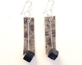 Icelandic fish skin leather and onyx earrings