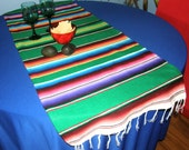 CINCO de MAYO Mexican Table Runner Made From Serape Cloth - Green with Bright Mexican Colors - Football party - Tailgating
