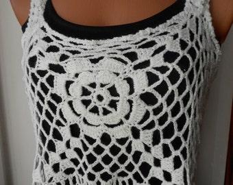 Crochet top Crochet Tank Crochet halter Top  White Roses  Free Shipping