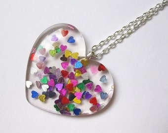 Pop Kei Rainbow Glitter Heart Necklace - Kawaii Necklace Fairy Kei Necklace Pop Kei Necklace JFashion Rainbow Necklace Rainbow  Jewelry
