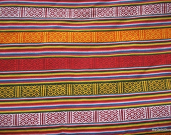 Handloom Cotton Multicolor Striped Fabric by Yard