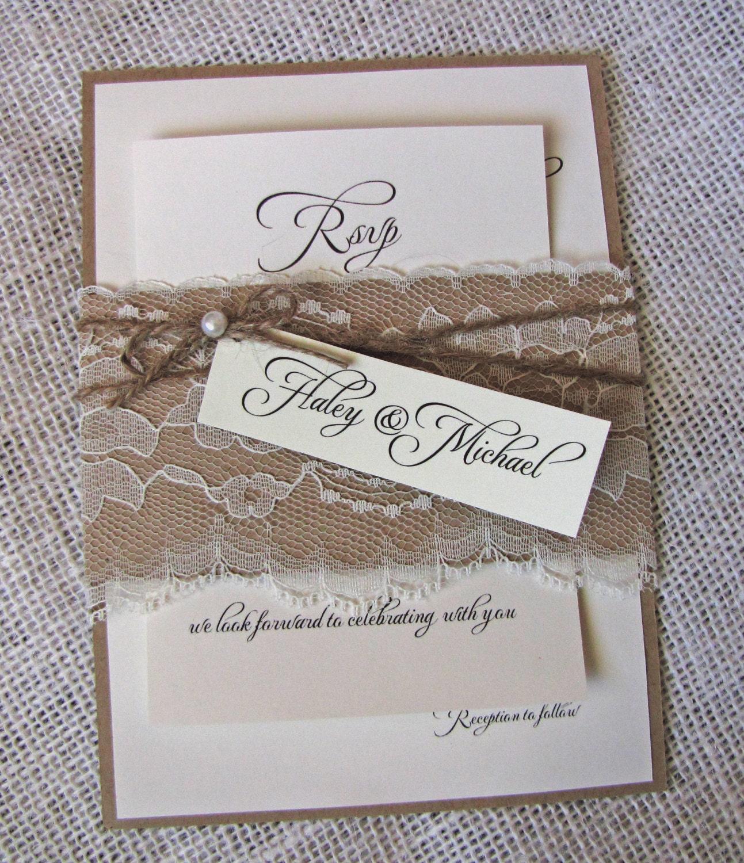 Rustic Diy Wedding Invitations: DIY Rustic Wedding Invitations Lace Wedding Invitation