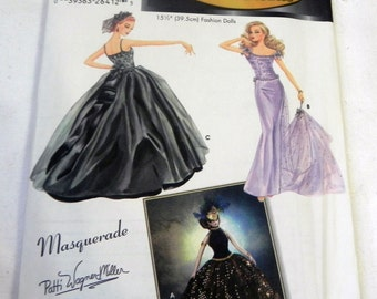 """Evening Gown Couturier Gene Doll Clothes Sewing Pattern Simplicity 5709 for 15.5"""" Dolls UNCUT FF"""