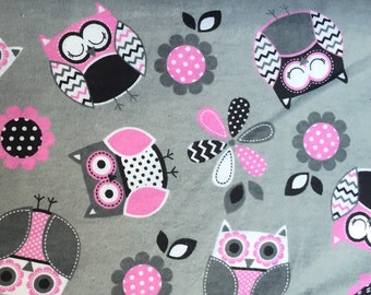 Popular items for pink owl fabric on Etsy