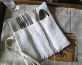 Applique Linen cutlery holder, Linen cozy cutlery ,
