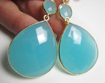 Extra Large Aqua Chalcedony Double Drop Earrings, Gold Vermeil Bezel Set, Statement Earrings, 14k Gold Filled Leverback, Dangle Earrings