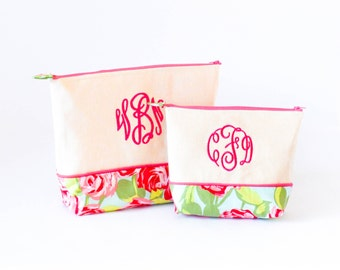 Medium and Large Set of Monogrammed Cosmetics bags- Lilly Like Flowers #7 and Hot Pink