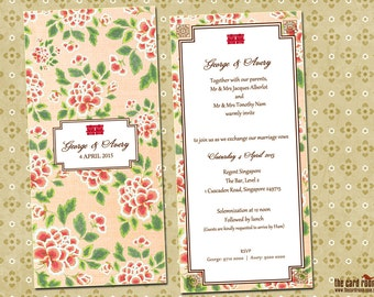 Pink Oriental Floral wedding invite with double happiness logo - Printables