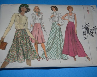 Vogue 9117  Misses Skirt Sewng Pattern - UNCUT - Sizes 24