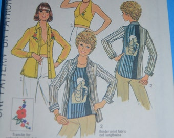 70s Simplicity 7447 Misses Halter Shirt and Top with Special Stitchline for knits Sewing Pattern - UNCUT Size12
