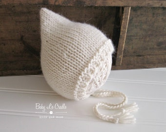 Newborn Pixie Bonnet | Knit Bonnet | Photo Prop - Eco-Alpaca