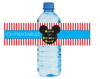 Mickey Oh Toodles themed Water Bottle Labels - Customized Digital File