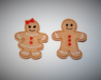 Set of 2 Gingerbread Girl and Boy Feltie Felt Embellishments