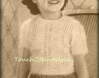 Girls ANGORA Sweater Knitting Pattern Vintage -  LACY EYELET Angora Sweater - Jumper  /  Girls Sizes 4 & 6  /  Kitten-Soft