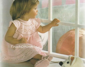 Girls LACY DRESS Crochet Pattern - Toddlers/Girls Charming Little Dress With Matching SHOES / Very Pretty