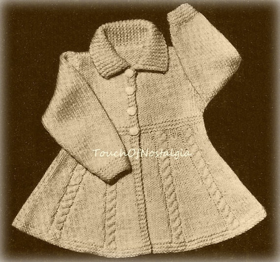Flared Dress Coat Vintage Knitting Pattern Flared Dress Coat
