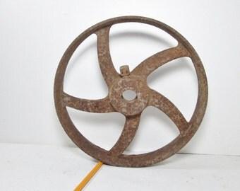 Vintage Wheel Farm Machine Age Rusty Metal Industrial Salvage