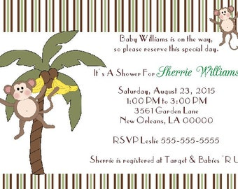 10 Jungle Monkey - Baby Shower Invitations