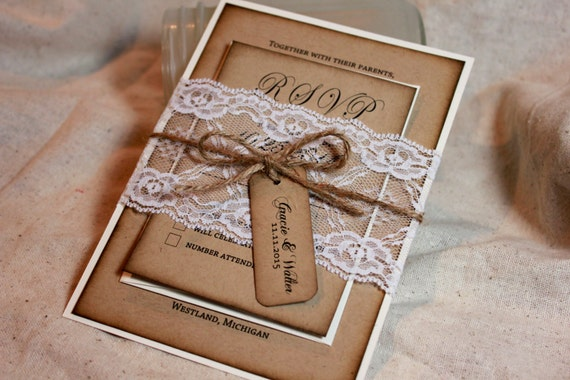rustic wedding invitations lace and kraft rustic wedding, invitation samples