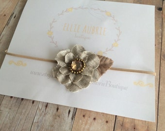 Brown flower headband, baby headband, beige  headband