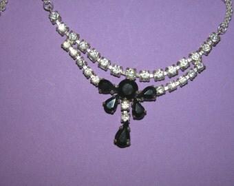 Vintage Dramatic Glamorous Black and White Rhinestone Necklace