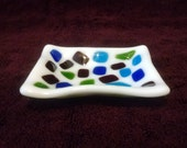 Mosaic Fused Glass Dish - Trinket Dish - Tea Bag Rest - Ring Dish - Tea Bag Holder - Decorative Plate - Spoon Rest - Sauce Dish - Blue Green