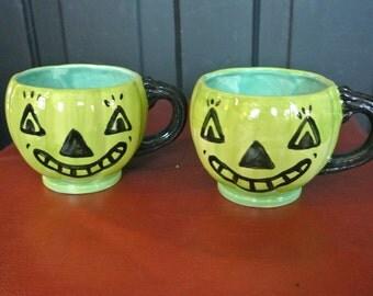 Extra Cheerful little green JOL pumpkin cups. Handpainted Halloween