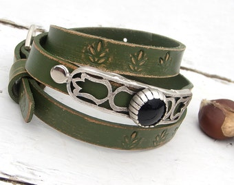 Women leather bracelet,  Rustic, Wrap around leather bracelet, Adjustable cuff bracelet