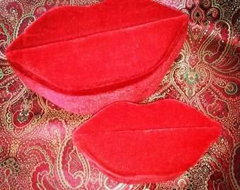 Vintage Accessories Home Decor Gift Box Red Faux  Lip Shaped Set of 2