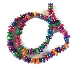 Shell Beads, Shell Spacer Beads, Various Colors, 1 Strand