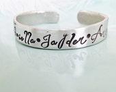 Personalized Wedding Jewelry | Pewter Wide Cuff Mom Bracelet |  Name Bracelet | Custom Cuff | Personalized Jewelry | Bracelet | Name Cuff