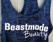 Beastmode Beauty Burnout Racerback Workout Tank, Black Crosstraining Tank, Women's