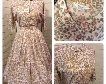 Sweet 1950's Cotton Novelty Print Skirt & Blouse~Matching~Knife pleated skirt