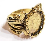 2 of 18x13 mm Antique Gold Plated Vintage Art Deco Wide Flower Band Victorian Adjustable Ring Settings, Great for Cameos, Cabs, Glass, Tiles