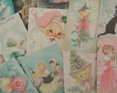 12 Pc. PINK & Pastel CHRISTMAS Greeting Die Cuts for Crafts Cards | X27 | Free Shipping | Old Paper Cat