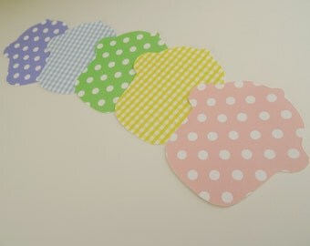 Pastel Cupcake Wish Tags, Birthday Party Gift Tags, Cupcake Die Cuts, Cupcake Cutouts, Cupcake Place Cards, Summer Party Decor, Set of 25